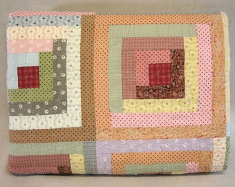Twin Size Quilt  -  Log Cabin Quilt- Vintage Look - Soft Pastel Reproduction 19th Century Prints - Handmade
