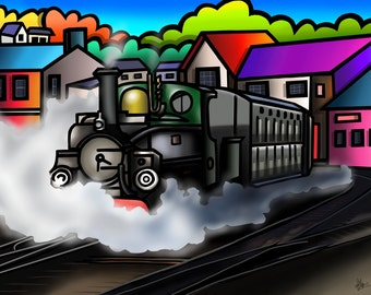 Festiniog Railway, Porthmadog - colourful fine art print by Amanda Hone