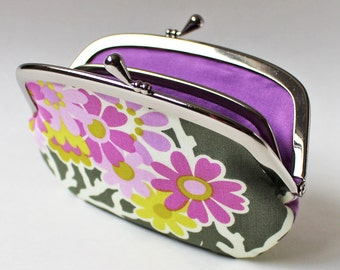 Coin purse wallet - flowers on charcoal, purple lavender flowers, blossoms, kiss lock coin purse, floral change purse, dark gray green