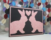 Bunny Love Card - pink black - anniversary - valentine - wedding - donation card - pink bunny card - rabbit love