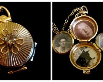 The Ribbed Daisy Vintage Coro 4 Picture Locket Necklace