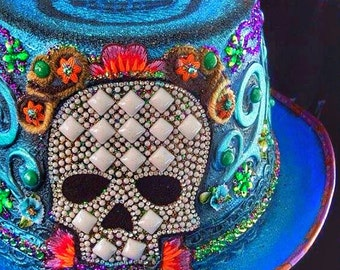 Bluemoose ART Costume Hat Dia de Los Muertos Ready to Ship