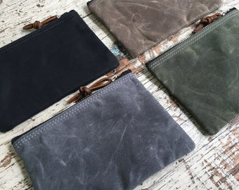 Waxed Canvas and Leather Zipper Pouch / Vegan Option/ Coin Pouch/ Canvas Zipper Bag/ Canvas Bag/ Travel Organizer/ Cord Organizer