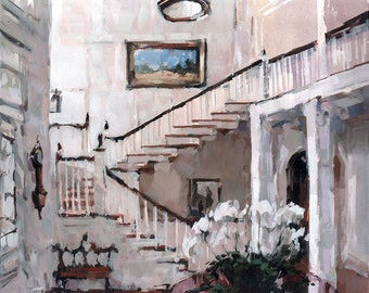 Art Print Interior White Cream 9x12 on 11x14 - A Grand Foyer by David Lloyd