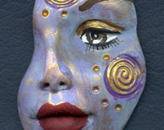 Polymer Clay One of a kind textured Abstract Face Shard  SHD 2P