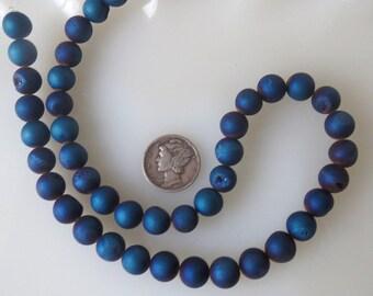 Metallic Blue Titanium Druzy Crystal Agate 8mm Round Beads Half Strand