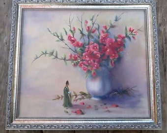 Vintage Original Acrylic Painting, Cherry Blossoms in Vase & Asian Goddess Woman, Small Space, Framed, Artist Signed