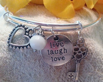 Modern charm bracelet - stackable  - live laugh love, heart, key, crystal