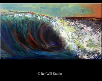 "40"" Seascape Abstract Art Painting Wave Original Artwork by BenWill"
