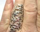 Sterling Silver Ring.  Size 8.  Sterling Silver Vine Ring. Under 50. Sterling Silver Knuckle Ring.