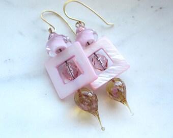 Pink Mother of Pearl Earrings. Rose Quartz Pink Earrings. Pink Glass and MOP Earrings.