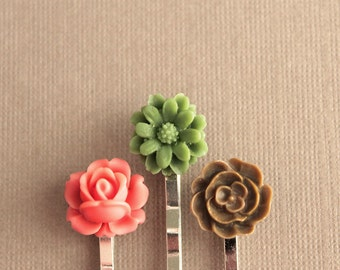 Silver Bobby Pins - Flowers - Coral, Green, Brown