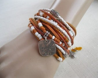 Lovely Boho Leather and Bead Wrap Bracelet or Necklace, Multi Strands of Leather in shades of Natural tans, white and orange beads