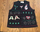 Sale Ugly vintage Christmas Sweater Vest         Plus Size