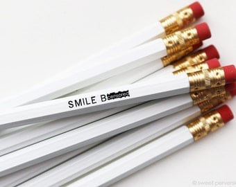 Mature Pencil Set. Snarky Pencils. Funny Pencil. White Pencil Set. Smile Bitch. Back to School. Stocking Stuffer.
