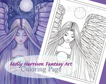 Angel Coloring Page - Fantasy Art Illustration - Printable Instant Download - Adult Coloring Page - Christmas Angel - Fairy, angels
