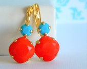 Coral Turquoise Cushion Cut Gold Leverback Earrings