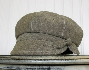 Newsboy Cap Olive Green Linen Womens Newsboy Hat - MADE TO ORDER