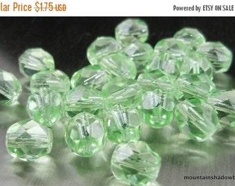 25% OFF Summer Sale 6mm Czech Glass Beads Firepolished Faceted - Peridot (G- 43)