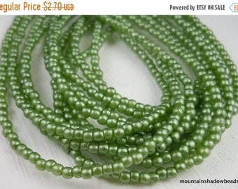 25% OFF Sale 2mm Pearls  - Olive Green Pearl Coat Czech Glass Beads Pressed Glass Round - 100 pcs  (G - 306 )