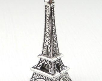 Eiffel Tower Pewter Charm - Antique Silver 24mm Charm