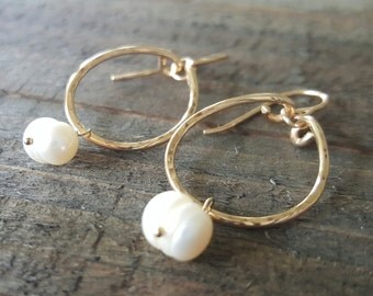Small Gold Hoops, Freshwater Pearl Earrings, Gold Hoops, Gold Earrings