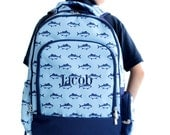 Boys Personalized Backpack | Personalized Fish Backpack | Boys Monogram Backpack | Backpack for Camp | Summer Vacation Travel Backpack