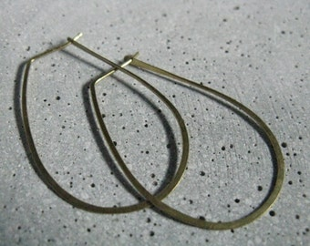 Hathor, thin gold brass hoop earrings, U shaped hammered hoops, elegant classic hoops, small medium large