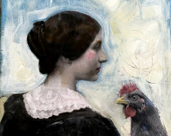vintage woman portrait with chicken painting