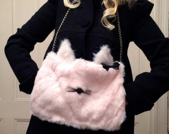 Pink Kitten with Bow Faux Fur Muff