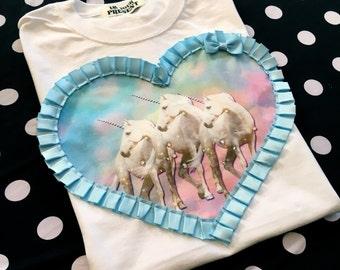 White and Pastel Magical Unicorns Digital Print Heart Applique Unisex MEDIUM