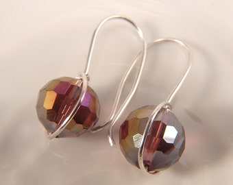 Multicolor Swarovski crystal faceted  Bead dangle earrings Sterling Silver