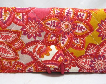 Checkbook Cover Holder QUILTED Hot PInk Orange Paisley