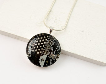 Circuit Board Necklace Brown - Upcycled Computer Jewelry - Motherboard Necklace - Geeky Gift for Her