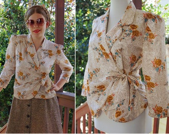 Golden ROSE 1970's Vintage Cream Brown Teal + Yellow Floral Light Satin Blouse w/ Cropped Sleeves Wrap Front + Bow // size Small Medium