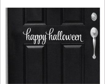 Happy Halloween door decal, window decal, wall art, mirror decal