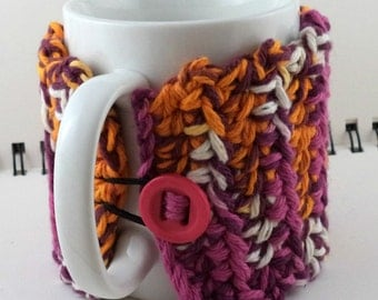 Crocheted Coffee or Ice Cream Cozy with Pocket in Rainbow Sherbet with Hot Pink Button (SWG-E06)