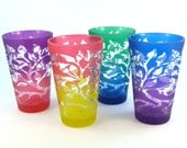 Tree of Life 12 oz Pint Glass Set - Etched and Painted Glassware - Ready to Ship