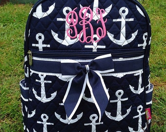 Quilted Navy Anchor Backpack Diaper Bag Personalized Includes Monogram