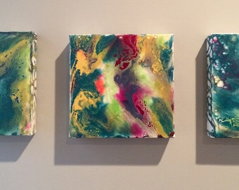 Original Triptych of 3 8x8x1.5 inch abstract modern decor high gloss multi coloured painted canvases in blues, greens, yellows & pinks