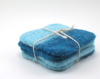 Felted wool coasters - square coaster set - color block coasters - robin's egg and ocean blue