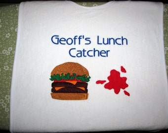 Custom Adult Bib. Protect Your Clothes with Flair and Humor.  Personalize it.