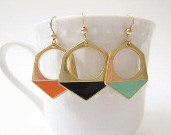 geometric earrings, gold earrings, hexagon earrings, gold geometric, enamel jewelry, minimalist earrings, modern earrings, hoop earrings