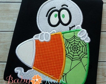 Ghost on Candycorn Applique Design 4x4, 5x7, 6x10, 8x8