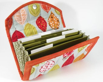 COUPON / EXPENSE / RECEIPT Organizer -Bright Autumn Leaf - Coupon Organizer Coupon Holder Cash Budget Jamberry Receipt Organizer