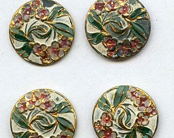 "Matching Set of (6) Antique Victorian Metal Art Nouveau Floral Painted  Buttons 7/8"" inch size 2620"