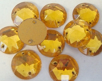 Glass  LIGHT TOPAZ Sew On Trim 13 mm Circle (11) Vintage Glass Bead Foil Flat Back Mirrored jc soltoprd13 MoRE AVAILABLE