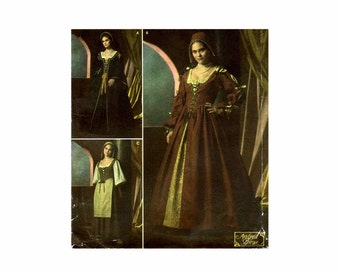 Renaissance Medieval Dress Costume Simplicity 4488 Sewing Pattern Size 16 - 18 - 20 - 22 - 24 Bust 38 - 40 - 42 - 44 - 46 UNCUT