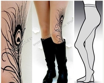 Sale/15%Off/EndsSep30/ Large/Extra Large sexy MINI and BOOTS peacock FEATHER tattoo tights / stockings/ full length / pantyhose / nylons Lig