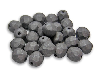 Czech Fire Polished Beads  6mm Saturated Gray Fire Polished Round Czech Beads 25pcs (4330) Czech Glass Beads